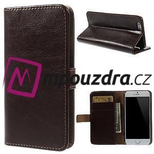Peněženkové PU kožené pouzdro na iPhone 6, 4.7 - hnědé - 1