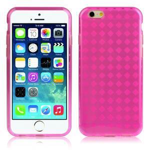 Gelové kostkované pouzdro na iPhone 6, 4.7 - růžové - 1