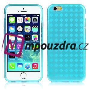 Gelové kostkované pouzdro na iPhone 6, 4.7 - modré - 1