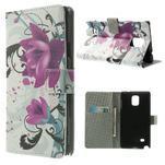 Peněženkové pouzdro na Samsung Galaxy Note 4- fialový květ - 1/7