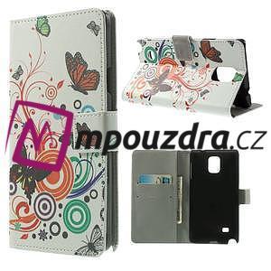 Peněženkové pouzdro na Samsung Galaxy Note 4- barevní motýlci - 1