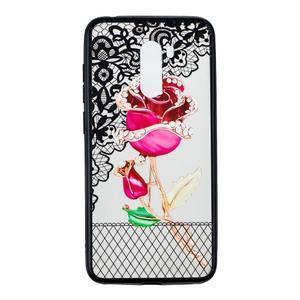 Lace gelový obal s plastovými zády pro Xiaomi Pocophone F1 - růže - 1