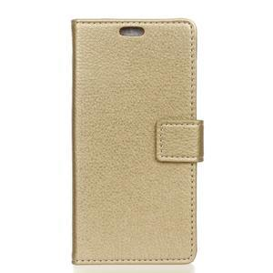 Litchi PU kožené peněženkové pouzdro s texturou na Samsung Galaxy A9 - zlaté - 1