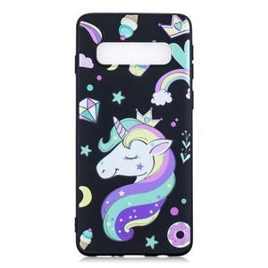 Printy gelový obal na mobil Samsung Galaxy S10 - jednorožec a sladkosti - 1