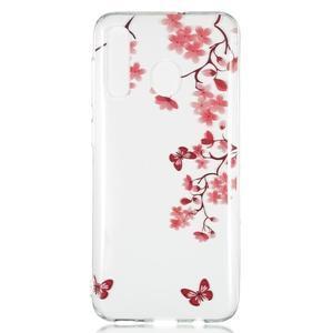 Pattern gelový obal na Samsung Galaxy A50/A30/A20 - motýl a květiny - 1