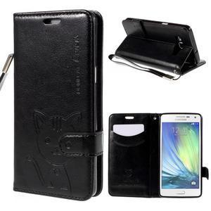 Kočička Domi PU kožené pouzdro na Samsung Galaxy A5 - černé - 1