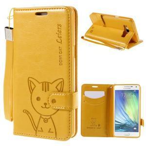 Kočička Domi PU kožené pouzdro na Samsung Galaxy A5 - žluté - 1