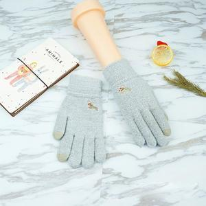 Full dotykové rukavice všemi prsty - světlešedé