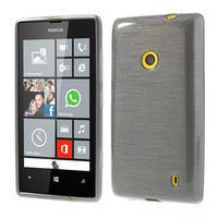 Gelové kartáčové pouzdro na Nokia Lumia 520- šedé - 1/5