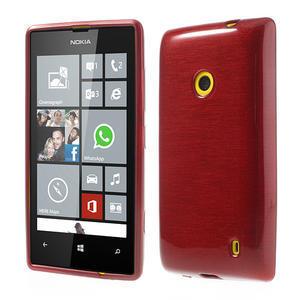 Gelové kartáčové pouzdro na Nokia Lumia 520- červené - 1
