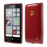 Gelové kartáčové pouzdro na Nokia Lumia 520- červené - 1/5