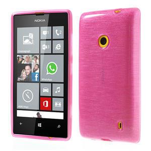 Gelové kartáčové pouzdro na Nokia Lumia 520- růžové - 1