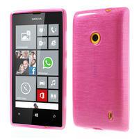Gelové kartáčové pouzdro na Nokia Lumia 520- růžové - 1/5