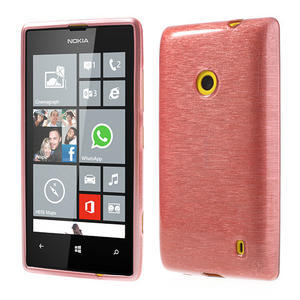 Gelové kartáčové pouzdro na Nokia Lumia 520- světlerůžové - 1