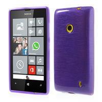 Gelové kartáčové pouzdro na Nokia Lumia 520- fialové - 1/5
