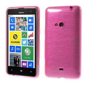 Gelové kartáčové pouzdro na Nokia Lumia 625 - růžové - 1