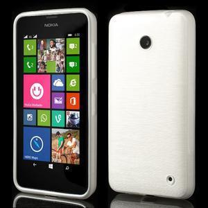 Gelové Kartáčové pouzdro na Nokia Lumia 630- bílé - 1