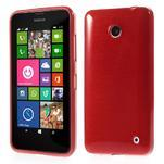 Gelové Kartáčové pouzdro na Nokia Lumia 630- červené - 1/5