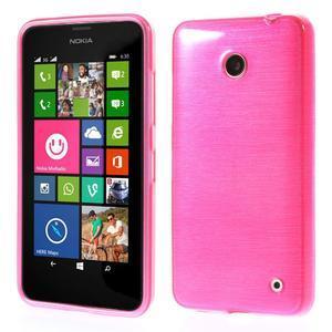 Gelové Kartáčové pouzdro na Nokia Lumia 630- růžové - 1
