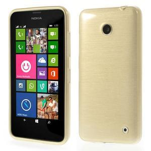 Gelové Kartáčové pouzdro na Nokia Lumia 630- zlatavé - 1