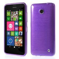 Gelové Kartáčové pouzdro na Nokia Lumia 630- fialové - 1/5