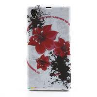 Gelové pouzdro na Sony Xperia Z1 C6903 L39- červený květ - 1/5
