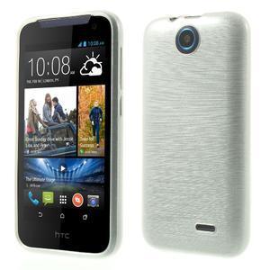 Gelové kartáčované pouzdro na HTC Desire 310- bílé - 1