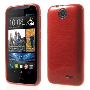Gelové kartáčované pouzdro na HTC Desire 310- červené - 1