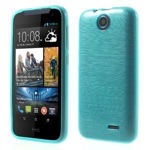 Gelové kartáčované pouzdro na HTC Desire 310- modré - 1