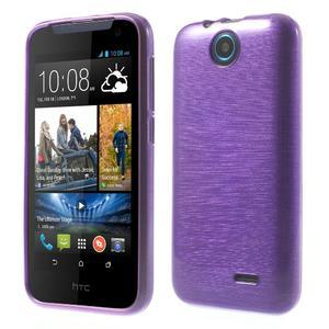 Gelové kartáčované pouzdro na HTC Desire 310- fialové - 1