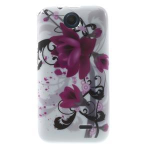 Gelové pouzdro na HTC Desire 310- fialový květ - 1