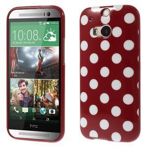 Gelové-PUNTÍKY pouzdro pro HTC one M8- červené - 1