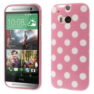 Gelové-PUNTÍKY pouzdro pro HTC one M8- růžové - 1