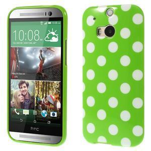 Gelové-PUNTÍKY pouzdro pro HTC one M8- zelené - 1