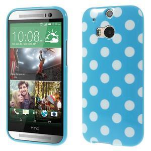 Gelové-PUNTÍKY pouzdro pro HTC one M8- modré - 1
