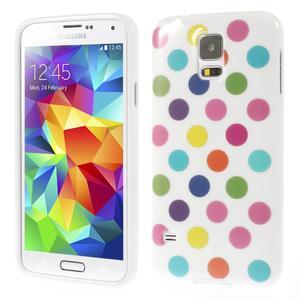 Gelové puntíkaté pouzdro na Samsung Galaxy S5- bílobarevné - 1