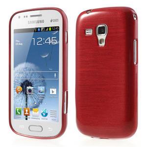 Kartáčované pouzdro na Samsung Galaxy Trend, Duos- červené - 1
