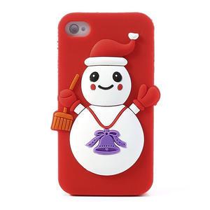 Silikonové pouzdro na iPhone 4 4S - sněhulák - 1