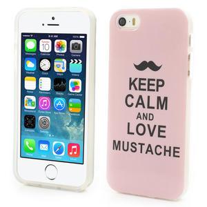Gelové pouzdro na iPhone 5, 5s- láska a knír - 1