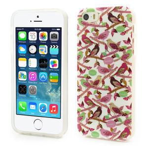 Gelové pouzdro na iPhone 5, 5s- elegantní ptáci - 1