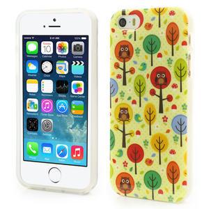 Gelové pouzdro na iPhone 5, 5s- Sovy a stromy - 1