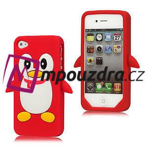 Silikonový Tučňák na iPhone 4 4S - červený - 1