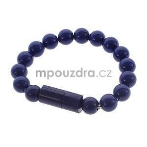 Korálkový náramek micro USB, tmavě modrý - 1