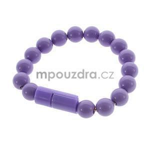 Korálkový náramek micro USB, fialový - 1