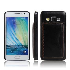 PU kožený/plastový kryt se stojánkem na Samsung Galaxy A3 - černý - 1