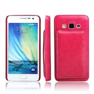 PU kožený/plastový kryt se stojánkem na Samsung Galaxy A3 - rose - 1