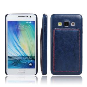 PU kožený/plastový kryt se stojánkem na Samsung Galaxy A3 - modrý - 1