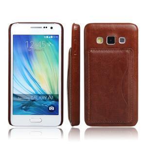 PU kožený/plastový kryt se stojánkem na Samsung Galaxy A3 - hnědý - 1