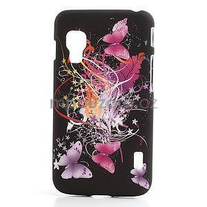 Plastové pouzdro pro LG Optimus L5 Dual E455- Motýl a květ - 1