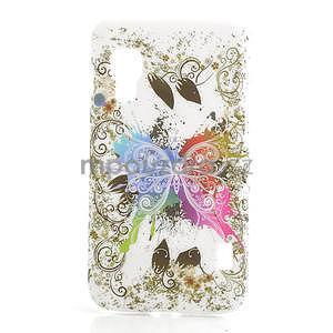 Plastové pouzdro pro LG Optimus L5 Dual E455- motýl bílé pozadí - 1